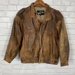 Distressed vintage leather flight jacket Grunge